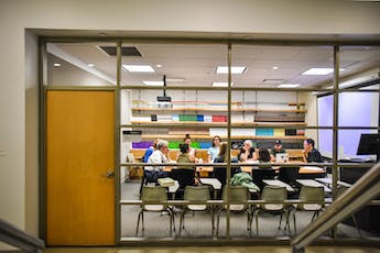 Writing and Research Facilities - Class behind glassdoor