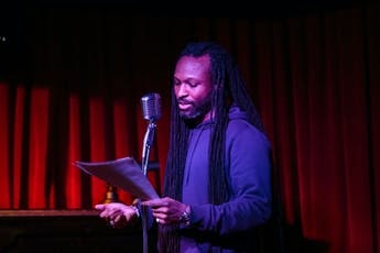 Writer on stage